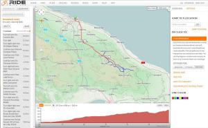 Pianificare un viaggio in bicicletta: schermata di RidewithGPS